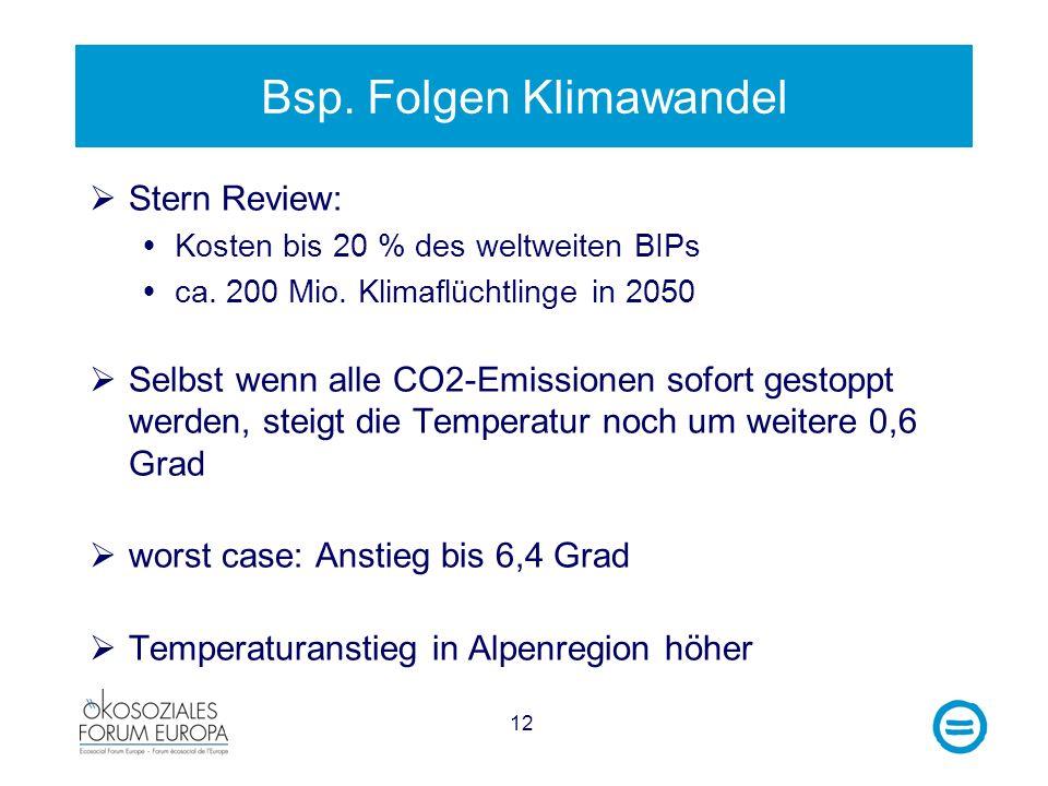 12 Bsp. Folgen Klimawandel Stern Review: Kosten bis 20 % des weltweiten BIPs ca. 200 Mio. Klimaflüchtlinge in 2050 Selbst wenn alle CO2-Emissionen sof