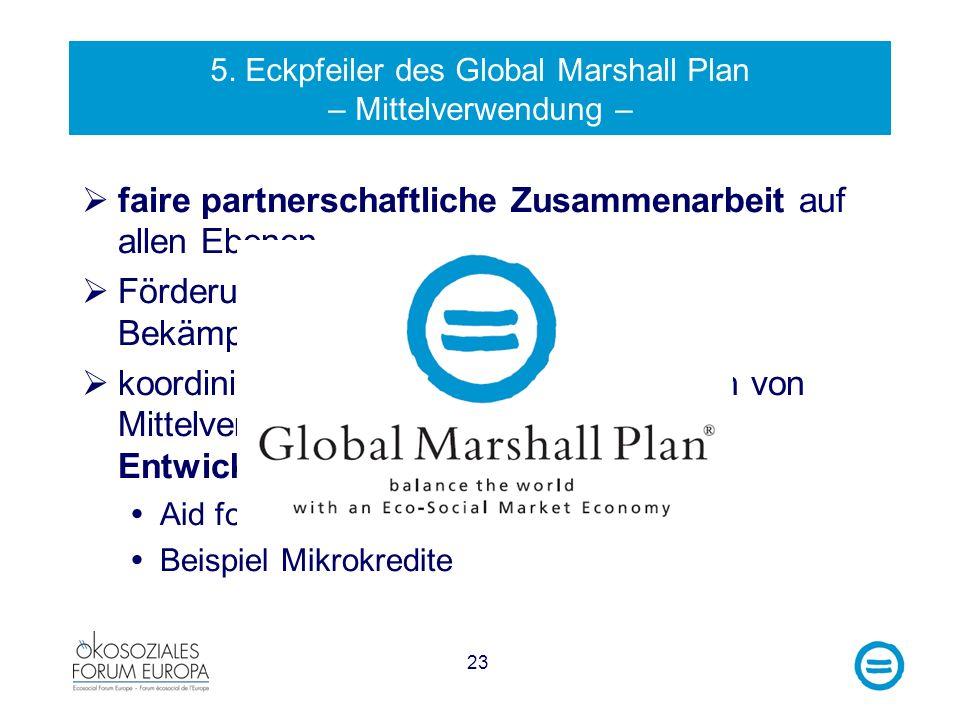23 5. Eckpfeiler des Global Marshall Plan – Mittelverwendung – faire partnerschaftliche Zusammenarbeit auf allen Ebenen Förderung von Good Governance