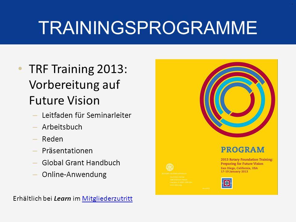 TRAININGSPROGRAMME TRF Training 2013: Vorbereitung auf Future Vision – Leitfaden für Seminarleiter – Arbeitsbuch – Reden – Präsentationen – Global Gra