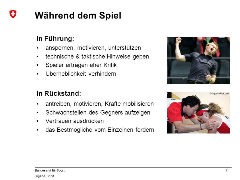 11 Bundesamt für Sport Jugend+Sport In Führung: anspornen, motivieren, unterstützen technische & taktische Hinweise geben Spieler ertragen eher Kritik