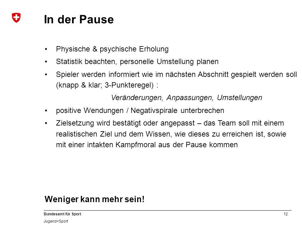 12 Bundesamt für Sport Jugend+Sport Physische & psychische Erholung Statistik beachten, personelle Umstellung planen Spieler werden informiert wie im