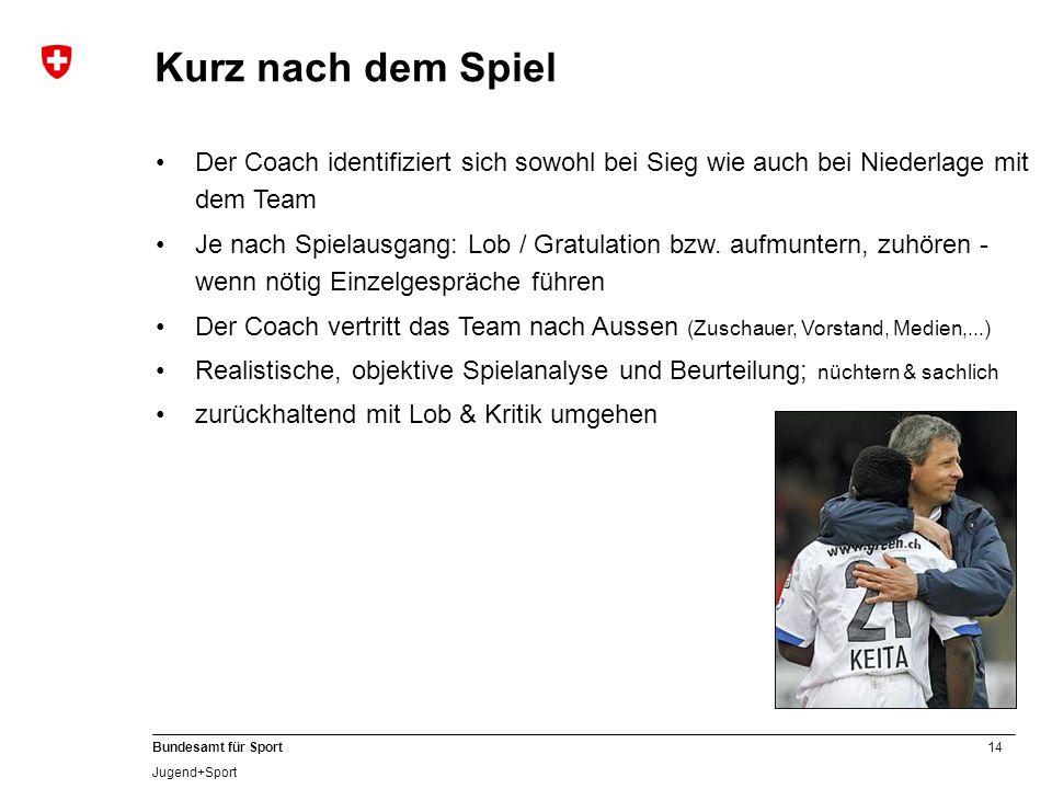 14 Bundesamt für Sport Jugend+Sport Der Coach identifiziert sich sowohl bei Sieg wie auch bei Niederlage mit dem Team Je nach Spielausgang: Lob / Grat