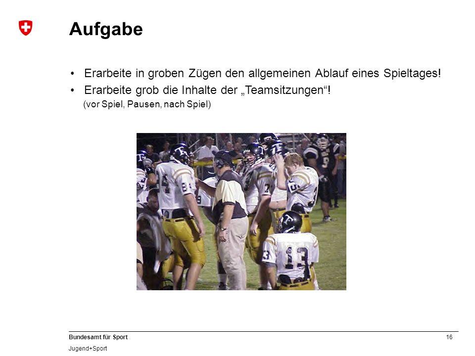 16 Bundesamt für Sport Jugend+Sport Aufgabe Erarbeite in groben Zügen den allgemeinen Ablauf eines Spieltages! Erarbeite grob die Inhalte der Teamsitz