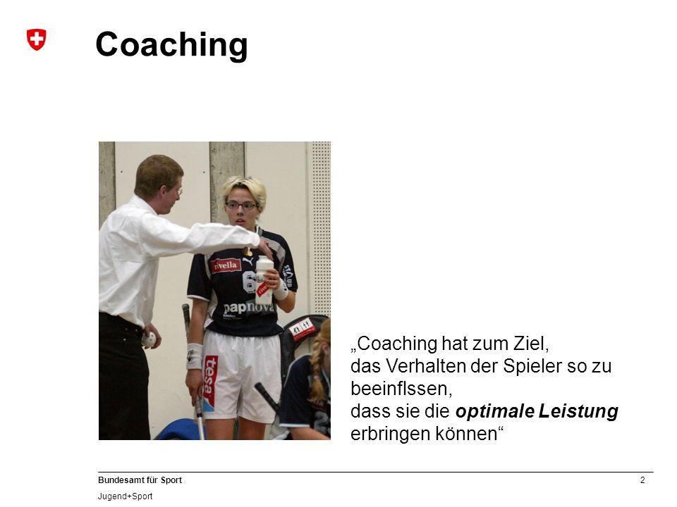 2 Bundesamt für Sport Jugend+Sport Coaching Coaching hat zum Ziel, das Verhalten der Spieler so zu beeinflssen, dass sie die optimale Leistung erbring