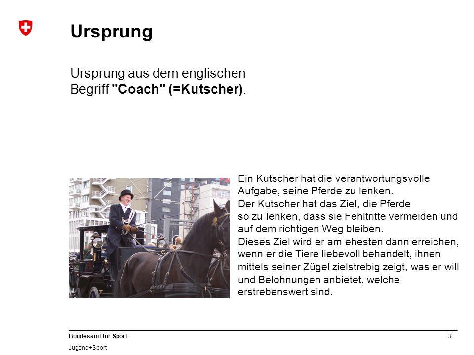 3 Bundesamt für Sport Jugend+Sport Ein Kutscher hat die verantwortungsvolle Aufgabe, seine Pferde zu lenken. Der Kutscher hat das Ziel, die Pferde so