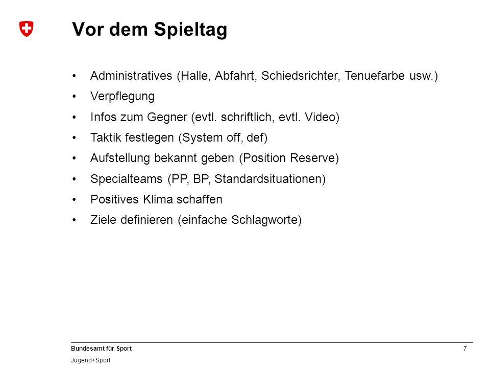 7 Bundesamt für Sport Jugend+Sport Vor dem Spieltag Administratives (Halle, Abfahrt, Schiedsrichter, Tenuefarbe usw.) Verpflegung Infos zum Gegner (ev