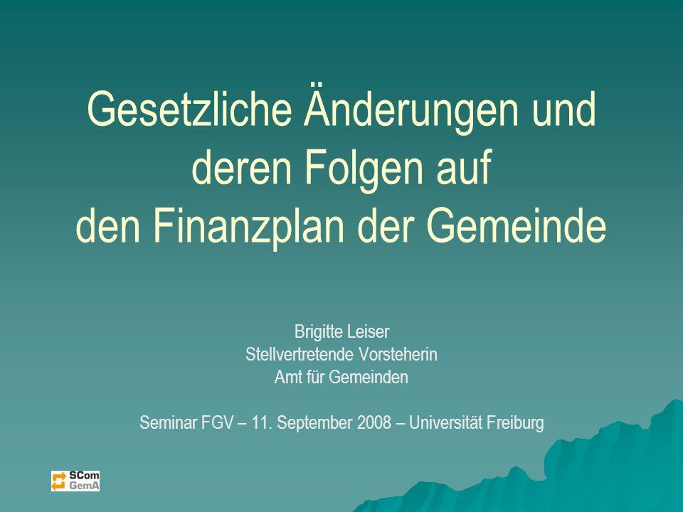 Gesetzliche Änderungen und deren Folgen auf den Finanzplan der Gemeinde Brigitte Leiser Stellvertretende Vorsteherin Amt für Gemeinden Seminar FGV – 11.