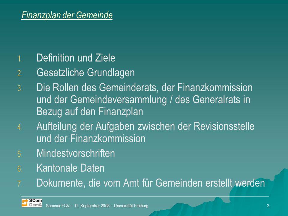 Finanzplan der Gemeinde 1. 1. Definition und Ziele 2.