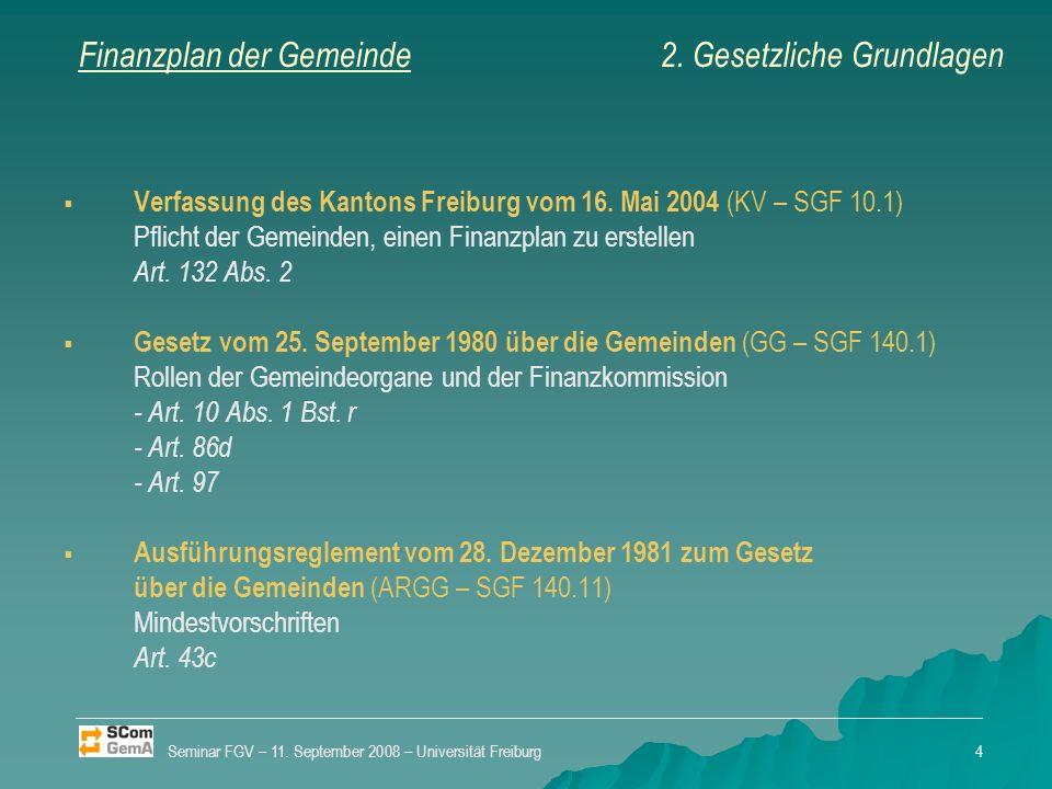 Finanzplan der Gemeinde Verfassung des Kantons Freiburg vom 16.