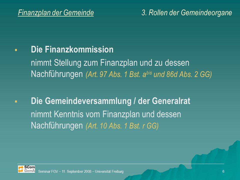 Finanzplan der Gemeinde Die Finanzkommission nimmt Stellung zum Finanzplan und zu dessen Nachführungen (Art.