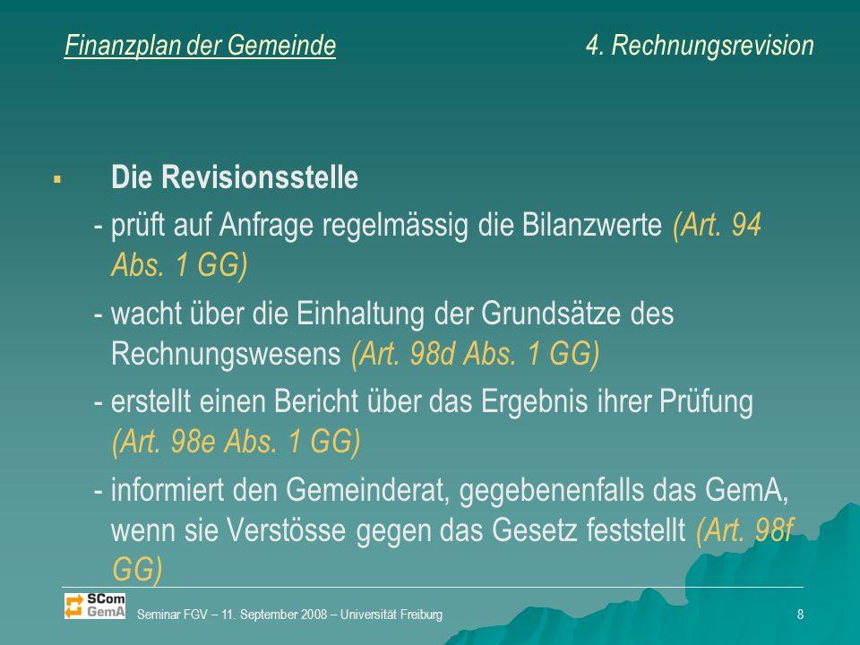 Finanzplan der Gemeinde Bezeichnung der Revisionsstelle Rechnungsrevision Kontrolle der laufenden Investitionen Seminar FGV – 11.