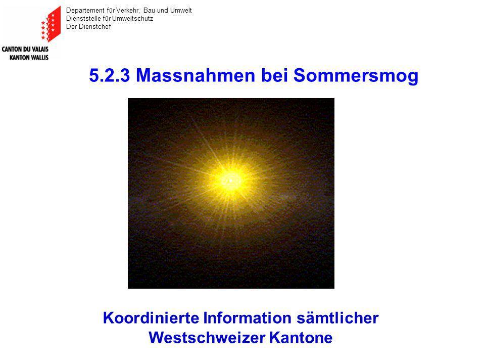 Departement für Verkehr, Bau und Umwelt Dienststelle für Umweltschutz Der Dienstchef 5.2.3 Massnahmen bei Sommersmog Koordinierte Information sämtlicher Westschweizer Kantone