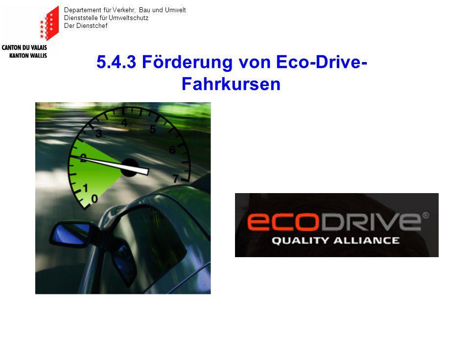 Departement für Verkehr, Bau und Umwelt Dienststelle für Umweltschutz Der Dienstchef 5.4.3 Förderung von Eco-Drive- Fahrkursen