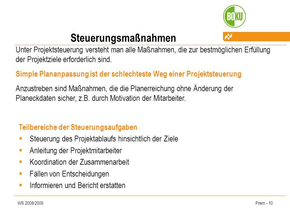 WS 2008/2009Prem - 10 Steuerungsmaßnahmen Unter Projektsteuerung versteht man alle Maßnahmen, die zur bestmöglichen Erfüllung der Projektziele erforde