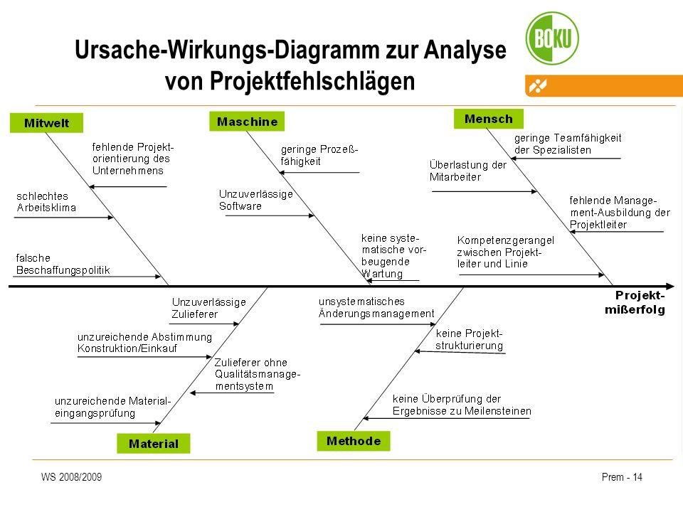 WS 2008/2009Prem - 14 Ursache-Wirkungs-Diagramm zur Analyse von Projektfehlschlägen