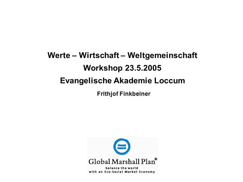 Werte – Wirtschaft – Weltgemeinschaft Workshop 23.5.2005 Evangelische Akademie Loccum Frithjof Finkbeiner