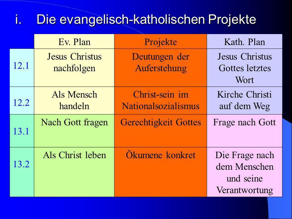 i. Die evangelisch-katholischen Projekte Für jedes Kurshalbjahr sind evangelisch-katholisches Projekt vorgeschlagen. Sie sind in die jeweilige Themati