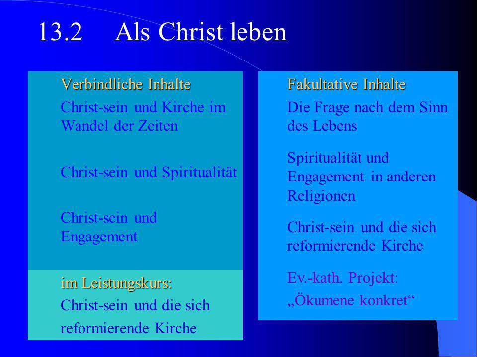 Verbindliche Inhalte Biblischer Gottesglaube Gott des Christentums und Gottesvorstellungen in den Religionen Religionskritik und die Theodizeefrage 13