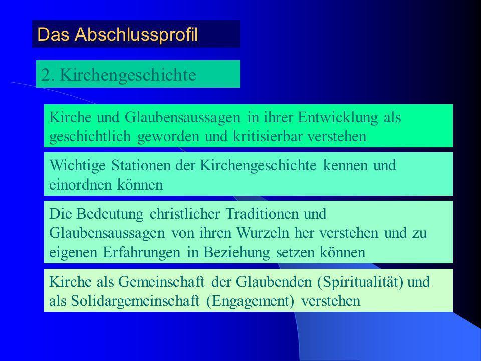 Das Abschlussprofil 1. Bibelwissenschaften Grundlegende jüdisch-christliche und christliche Traditionen im Zusammenhang ihrer Entstehungsbedingungen k