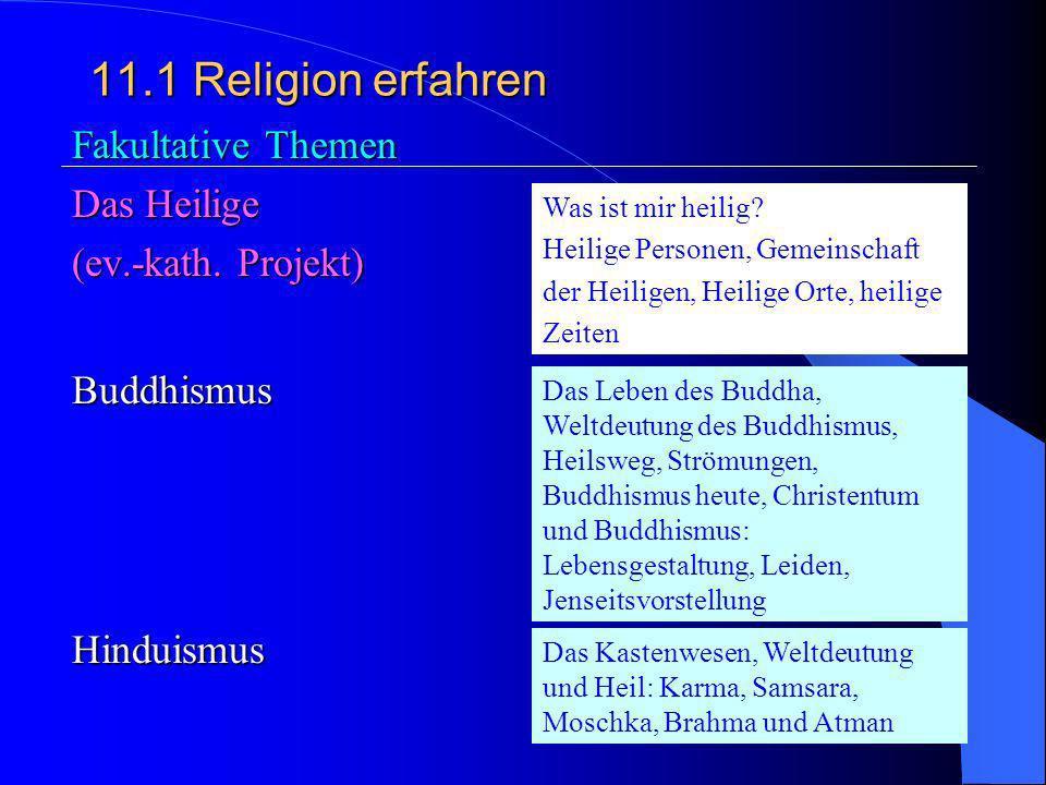 11.1 Religion erfahren 3.Begegnungen der Religionen Begegnungen (mit Juden, Muslimen, Buddhisten u.a. Religiöser Pluralismus und christliche Identität