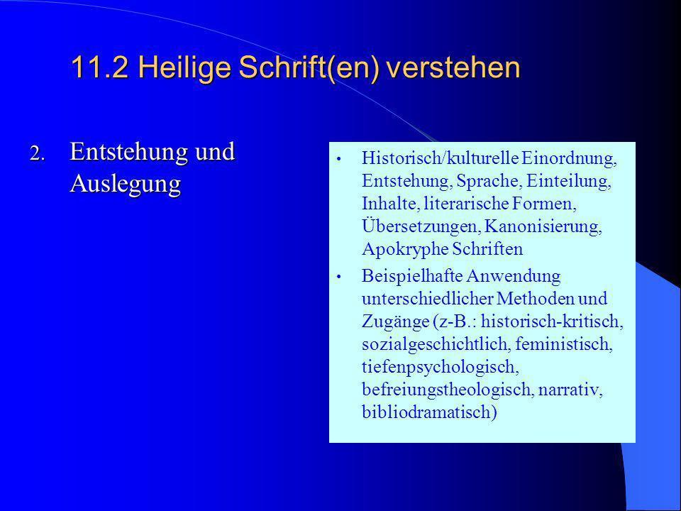 11.2Heilige Schrift(en) verstehen 11.2Heilige Schrift(en) verstehen 1. Ist die Bibel wahr? Sprache und Funktion des Mythos und sein Verhältnis zur Wir