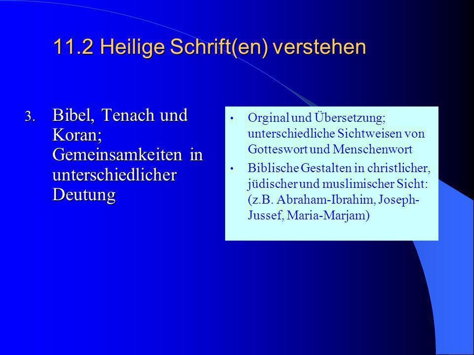 11.2Heilige Schrift(en) verstehen 2. Entstehung und Auslegung Historisch/kulturelle Einordnung, Entstehung, Sprache, Einteilung, Inhalte, literarische