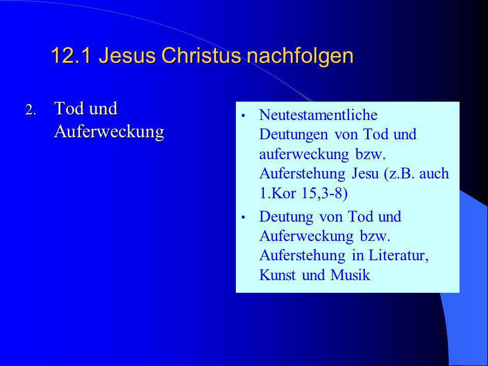 12.1Jesus Christus nachfolgen 1. Die neutestament- liche Überlieferung von Jesus als dem Christus Jesu Verkündigung und Wirken Bergpredigt, Reich Gott