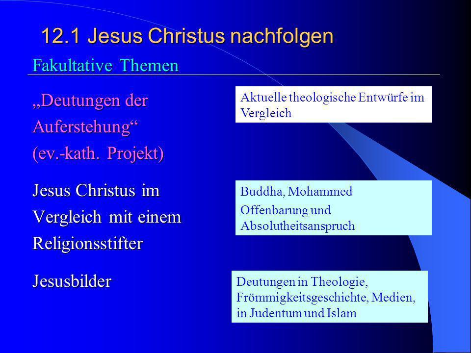 12.1Jesus Christus nachfolgen 3. Jesus Christus und die Kirche Das Ringen um die Nachfolge im Wandel der Zeiten (z.B.: Arm/reich; Macht/Ohnmacht; Kirc