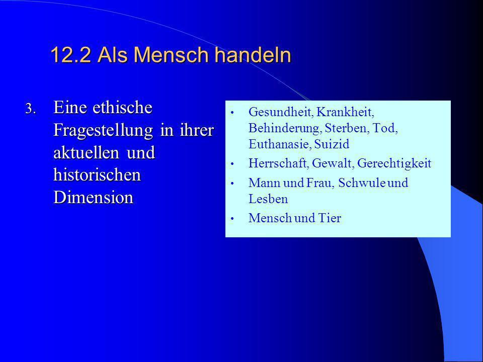 12.2Als Mensch handeln 2. Glaube- Wissenschaft- Technik Verschiedene Sichtweisen der Wirklichkeit und des Menschen Ist alles erlaubt, was (technisch)
