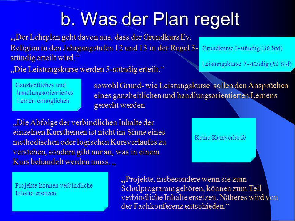 b.Was der Plan regelt Der Lehrplan geht davon aus, dass der Grundkurs Ev.