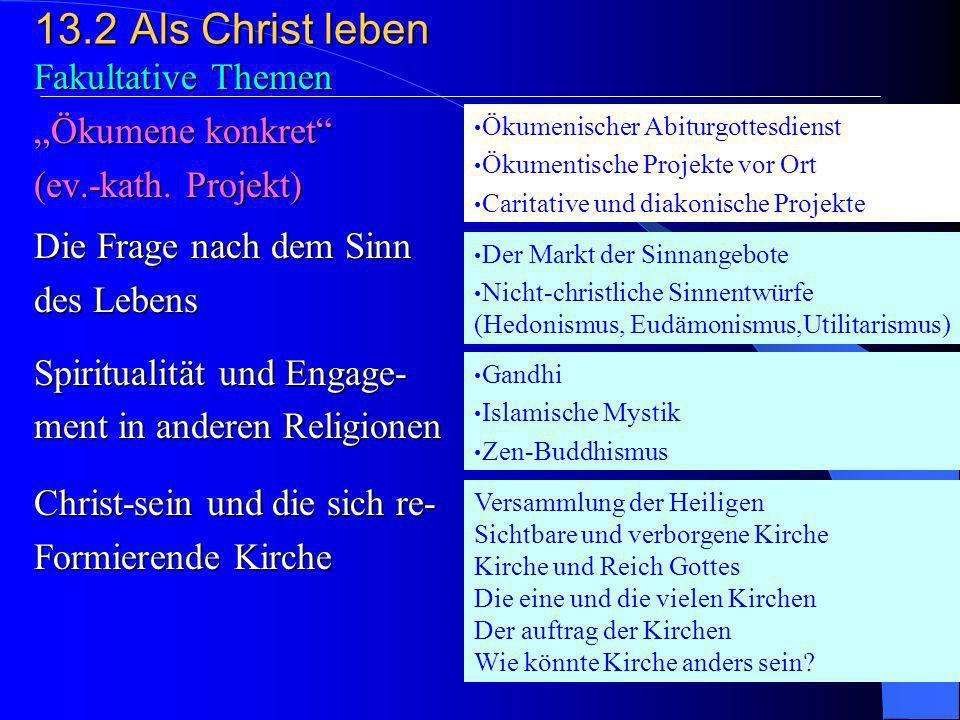 13.2Als Christ leben 3. Christ-sein und Engagement Beispiele aus der Geschichte der Kirche Chancen ehrenamtlichen Engagements Arbeit für Frieden, Gere