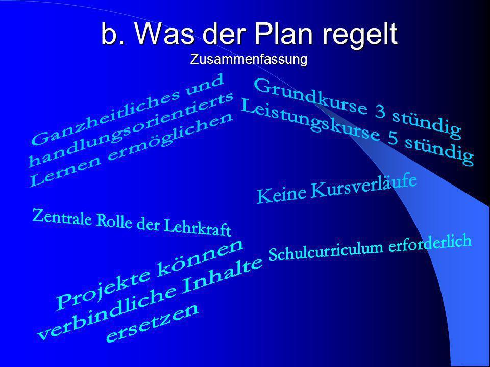b. Was der Plan regelt Es bleibt Aufgabe der Lehrkräfte, den jeweiligen Kurs in seiner methodischen Struktur so zu planen, dass die Schülerinnen und S