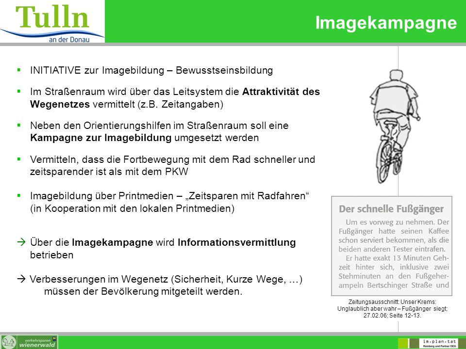 Imagekampagne INITIATIVE zur Imagebildung – Bewusstseinsbildung Im Straßenraum wird über das Leitsystem die Attraktivität des Wegenetzes vermittelt (z