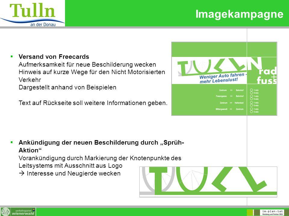 Imagekampagne Versand von Freecards Aufmerksamkeit für neue Beschilderung wecken Hinweis auf kurze Wege für den Nicht Motorisierten Verkehr Dargestell