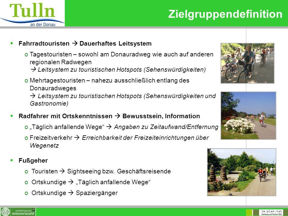 Zielgruppendefinition Fahrradtouristen Dauerhaftes Leitsystem oTagestouristen – sowohl am Donauradweg wie auch auf anderen regionalen Radwegen Leitsys