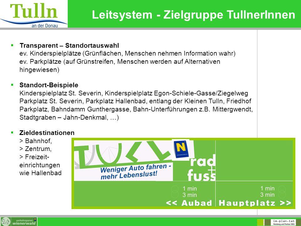 Leitsystem - Zielgruppe TullnerInnen Transparent – Standortauswahl ev. Kinderspielplätze (Grünflächen, Menschen nehmen Information wahr) ev. Parkplätz