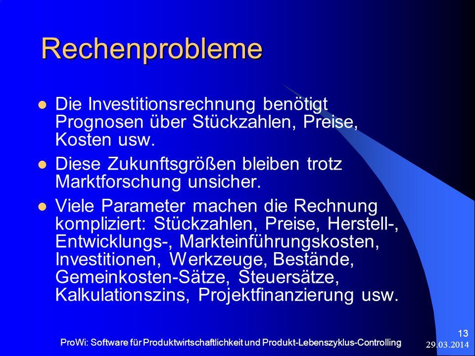 29.03.2014 ProWi: Software für Produktwirtschaftlichkeit und Produkt-Lebenszyklus-Controlling 13 Rechenprobleme Die Investitionsrechnung benötigt Prog