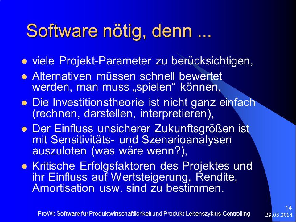 29.03.2014 ProWi: Software für Produktwirtschaftlichkeit und Produkt-Lebenszyklus-Controlling 14 Software nötig, denn... viele Projekt-Parameter zu be