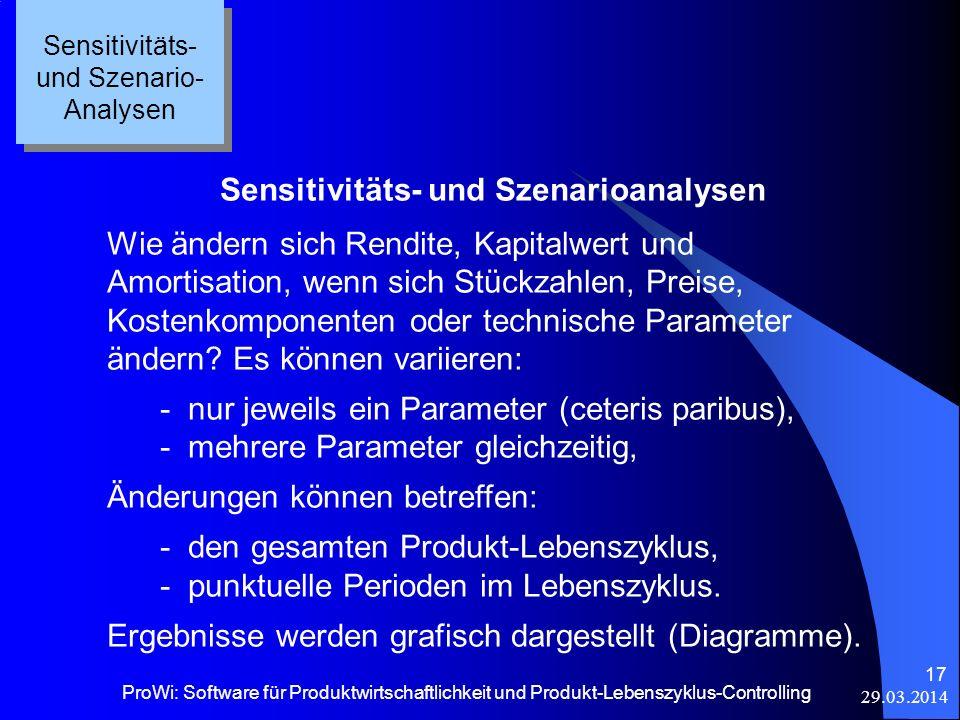 29.03.2014 ProWi: Software für Produktwirtschaftlichkeit und Produkt-Lebenszyklus-Controlling 17 Sensitivitäts- und Szenario- Analysen Sensitivitäts-