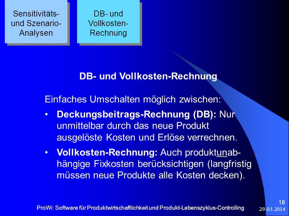 29.03.2014 ProWi: Software für Produktwirtschaftlichkeit und Produkt-Lebenszyklus-Controlling 18 Sensitivitäts- und Szenario- Analysen DB- und Vollkos
