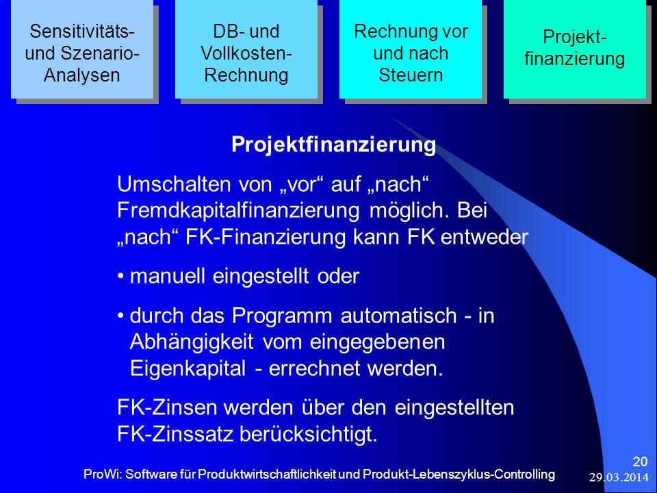 29.03.2014 ProWi: Software für Produktwirtschaftlichkeit und Produkt-Lebenszyklus-Controlling 20 Sensitivitäts- und Szenario- Analysen DB- und Vollkos