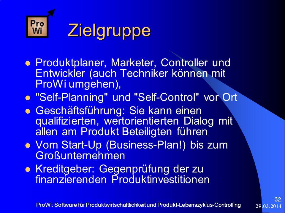 29.03.2014 ProWi: Software für Produktwirtschaftlichkeit und Produkt-Lebenszyklus-Controlling 32 Zielgruppe Zielgruppe Produktplaner, Marketer, Contro