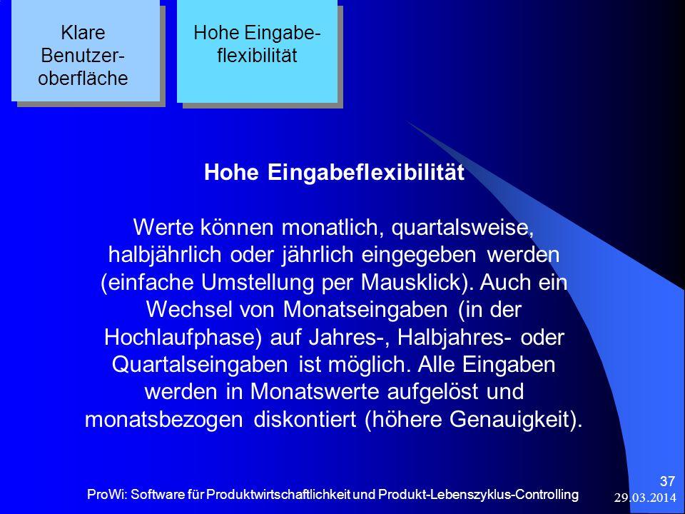 29.03.2014 ProWi: Software für Produktwirtschaftlichkeit und Produkt-Lebenszyklus-Controlling 37 Klare Benutzer- oberfläche Hohe Eingabe- flexibilität