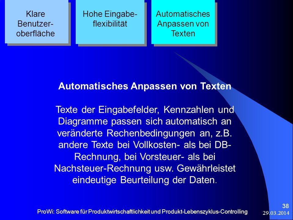 29.03.2014 ProWi: Software für Produktwirtschaftlichkeit und Produkt-Lebenszyklus-Controlling 38 Klare Benutzer- oberfläche Hohe Eingabe- flexibilität