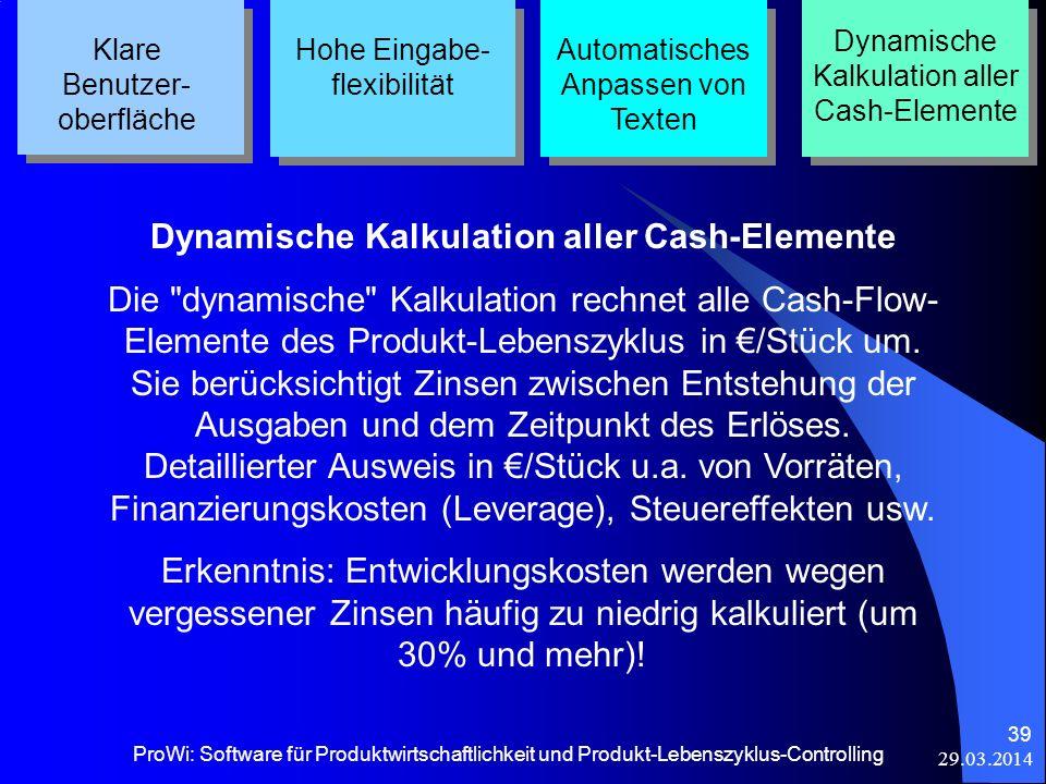 29.03.2014 ProWi: Software für Produktwirtschaftlichkeit und Produkt-Lebenszyklus-Controlling 39 Klare Benutzer- oberfläche Hohe Eingabe- flexibilität