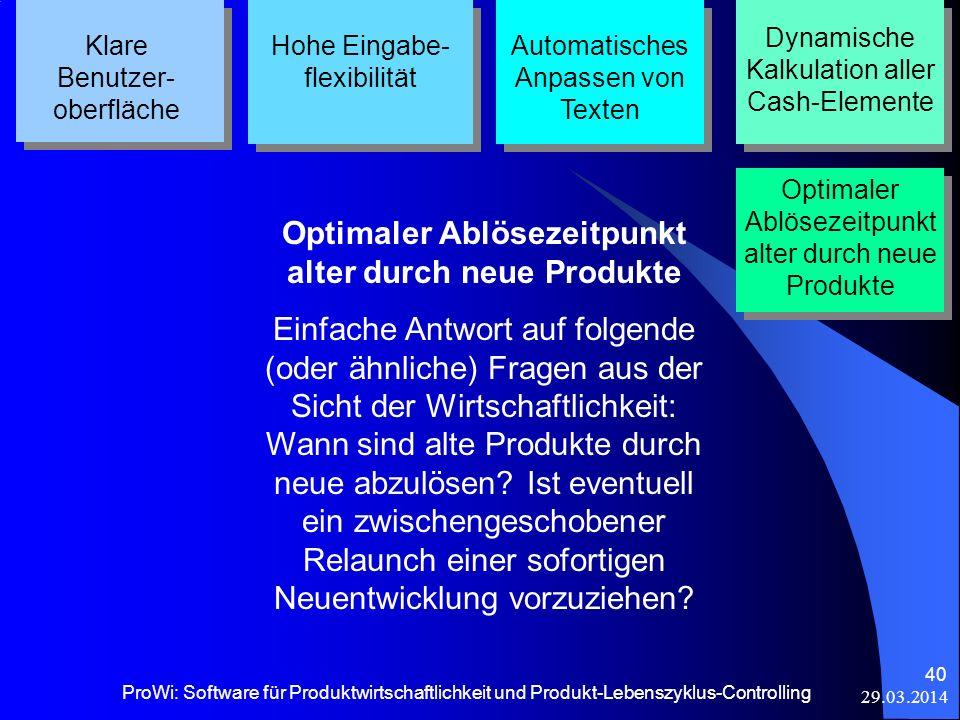 29.03.2014 ProWi: Software für Produktwirtschaftlichkeit und Produkt-Lebenszyklus-Controlling 40 Klare Benutzer- oberfläche Hohe Eingabe- flexibilität