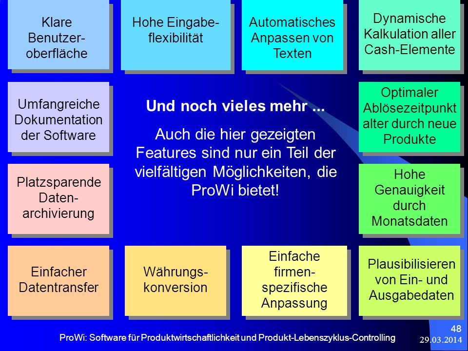 29.03.2014 ProWi: Software für Produktwirtschaftlichkeit und Produkt-Lebenszyklus-Controlling 48 Klare Benutzer- oberfläche Hohe Eingabe- flexibilität