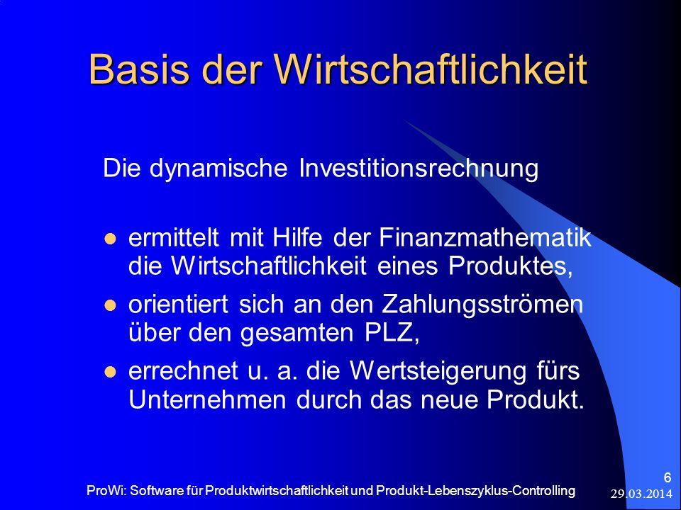 29.03.2014 ProWi: Software für Produktwirtschaftlichkeit und Produkt-Lebenszyklus-Controlling 6 Basis der Wirtschaftlichkeit Die dynamische Investitio