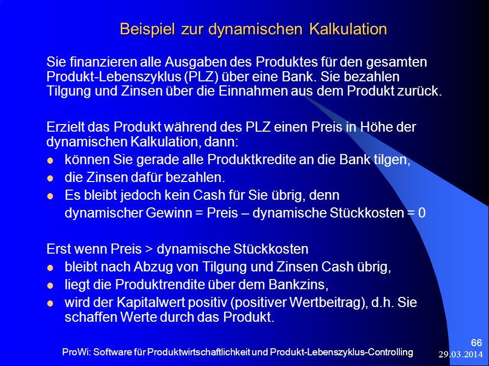 Beispiel zur dynamischen Kalkulation Sie finanzieren alle Ausgaben des Produktes für den gesamten Produkt-Lebenszyklus (PLZ) über eine Bank. Sie bezah