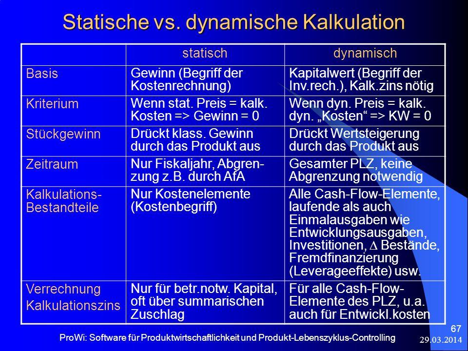 29.03.2014 ProWi: Software für Produktwirtschaftlichkeit und Produkt-Lebenszyklus-Controlling 67 Statische vs. dynamische Kalkulation statischdynamisc